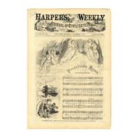 "Image: Harper's Weekly and ""The President's Hymn. Give Thanks, All Ye People"""