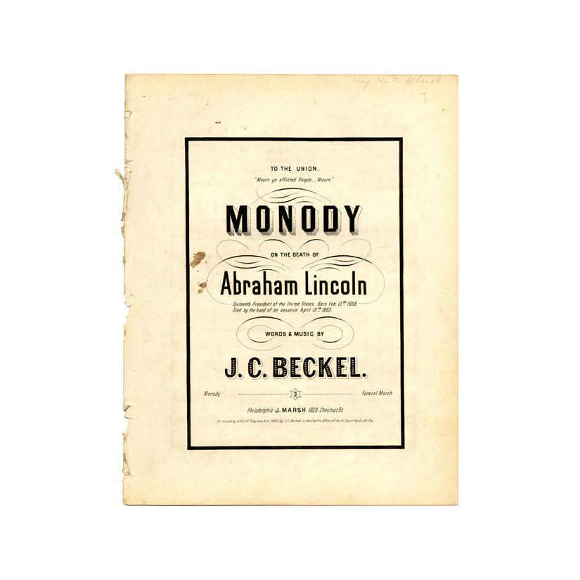 Image: Monody on the death of Abraham Lincoln