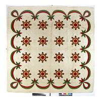 Image: Whig Rose variation applique quilt; red/green applique