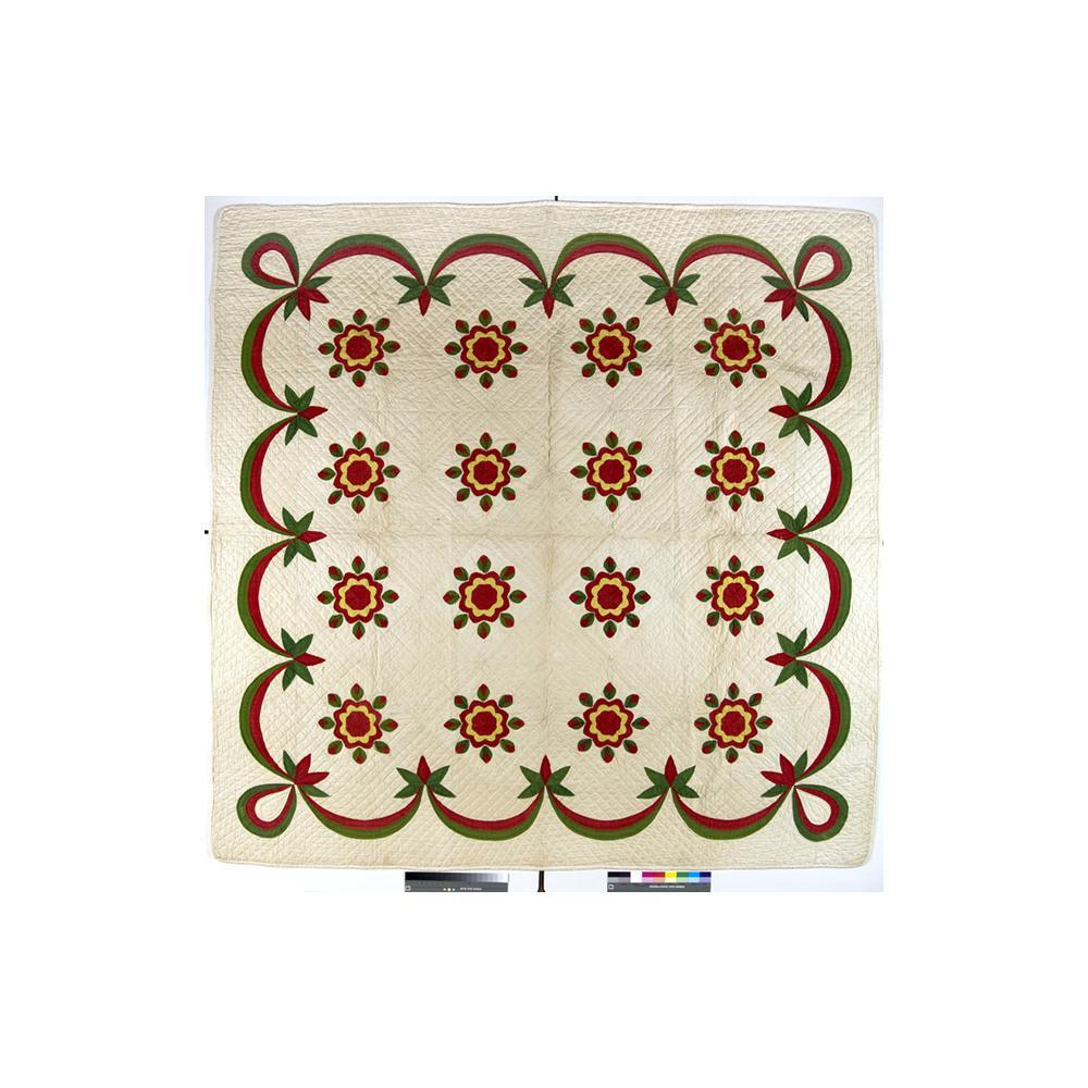 Image: Whig Rose variation applique quilt; red/green applique