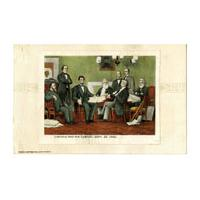 Image: Color postcard of Lincoln and His Cabinet
