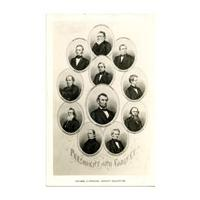 Image: Black and white postcard of Abraham Lincoln and his Cabinet