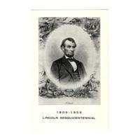 Image: Black and white postcard of Abraham Lincoln