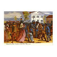 """Image: """"Mustered Out"""" Black volunteers at Little Rock, May 19, 1866"""