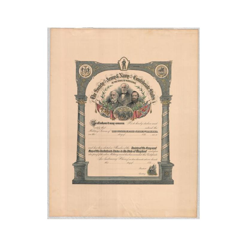 Image: Certificate of Membership in The Society of the Army and Navy of the Confederate States in the State of Maryland