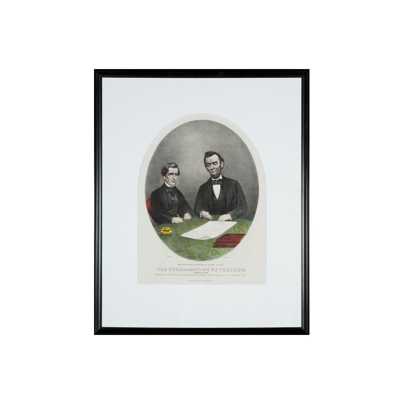 Image: President Lincoln and Secretary Steward signing the Proclamation of Freedom, January 1, 1863