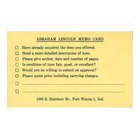Image: Abraham Lincoln Memo Card
