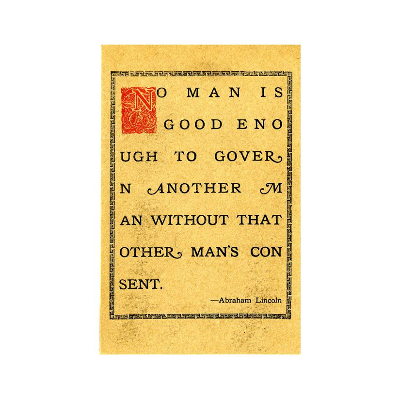 "Image: ""No Man Is Good Enough..."" Quotation"