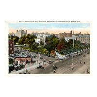 Image: Lincoln Park, City Hall and Signal Hill in Distance, Long Beach, Cal.