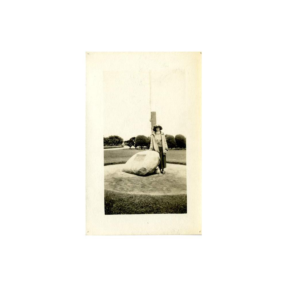 Image: Woman at the Lincoln Centennial Memorial Boulder