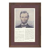 Image: portrait of Abraham Lincoln and copy of the Gettysburg Address