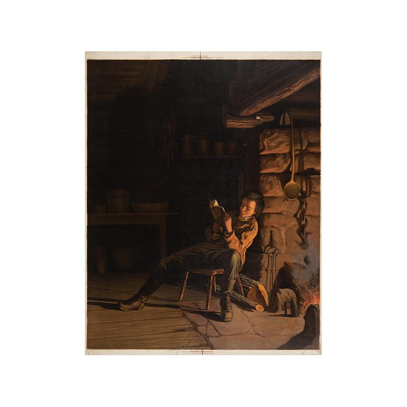 Image: Boy Lincoln reading by firelight
