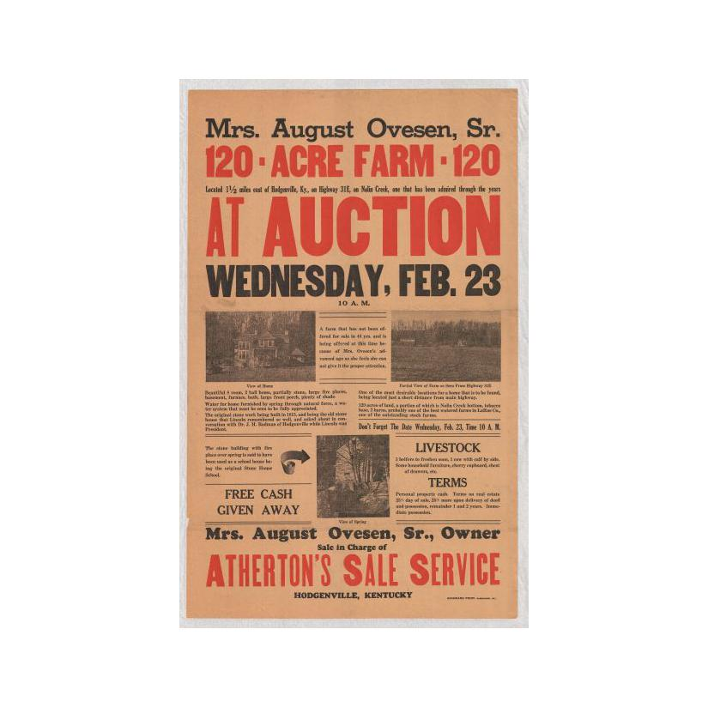 Image: Mrs. August Ovesen, Sr., 120 Acre Farm at Auction
