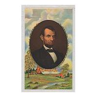 Image: Color Print of Scenery and Lincoln