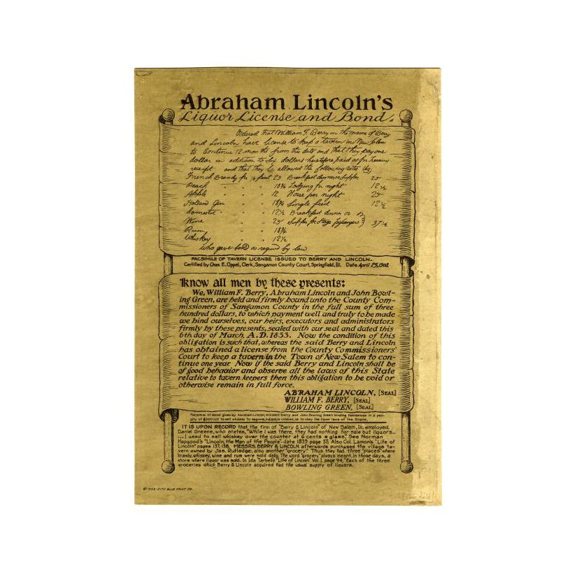 Image: Abraham Lincoln's Liquor License and Bond print