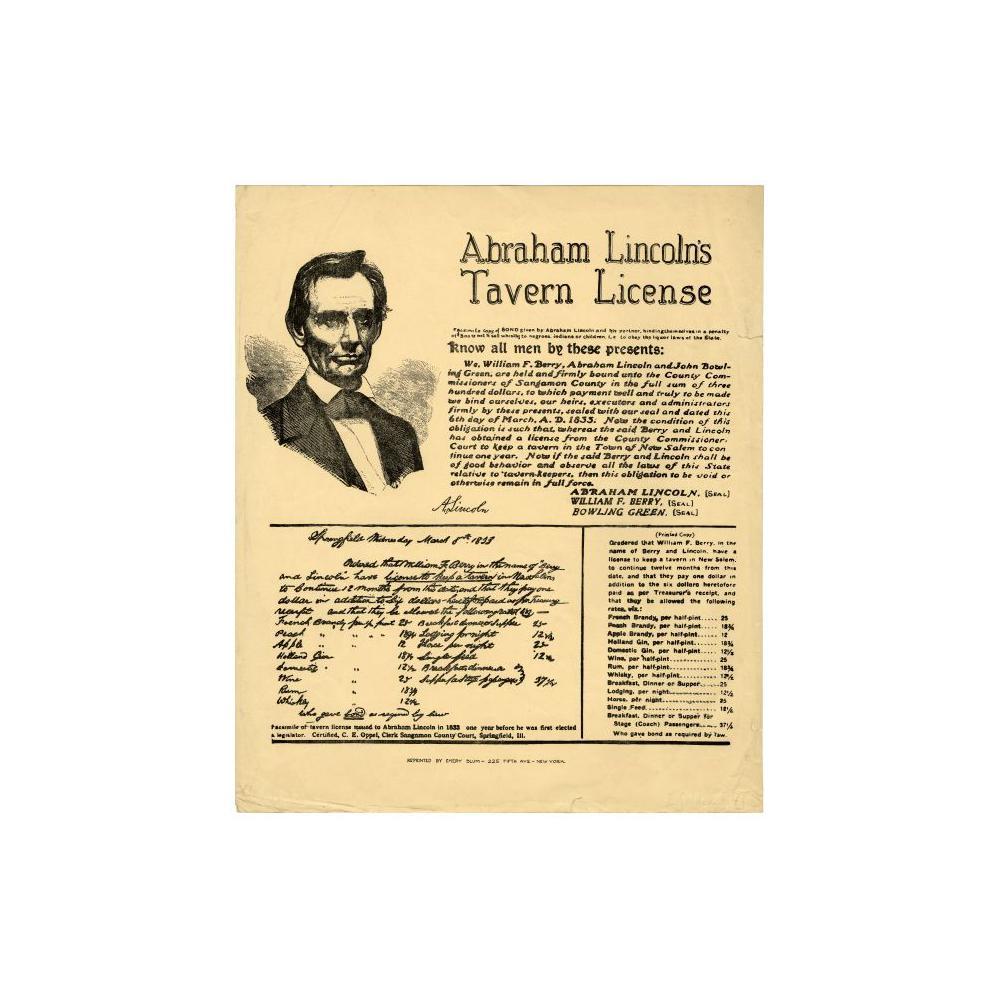 Image: Abraham Lincoln's Tavern License