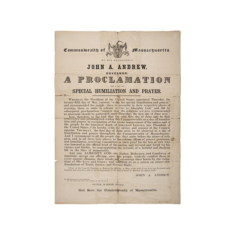 Image: Proclamation for a Day of Special Humiliation and Prayer