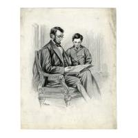 Image: Lincoln and son, Tad, reading