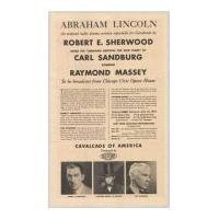 Image: Cavalcade radio program mailer for Abraham Lincoln drama