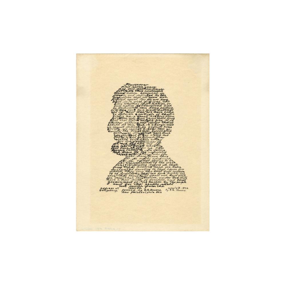 Image: Calligraphic portrait of President Abraham Lincoln