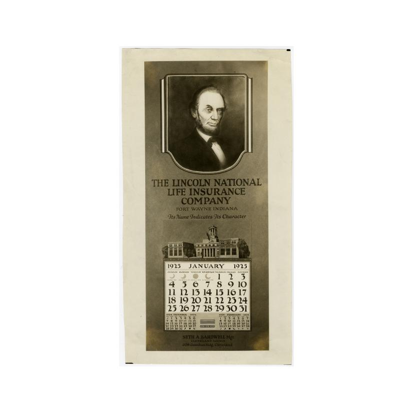 Image: 1925 Lincoln National Life Insurance Company calendar