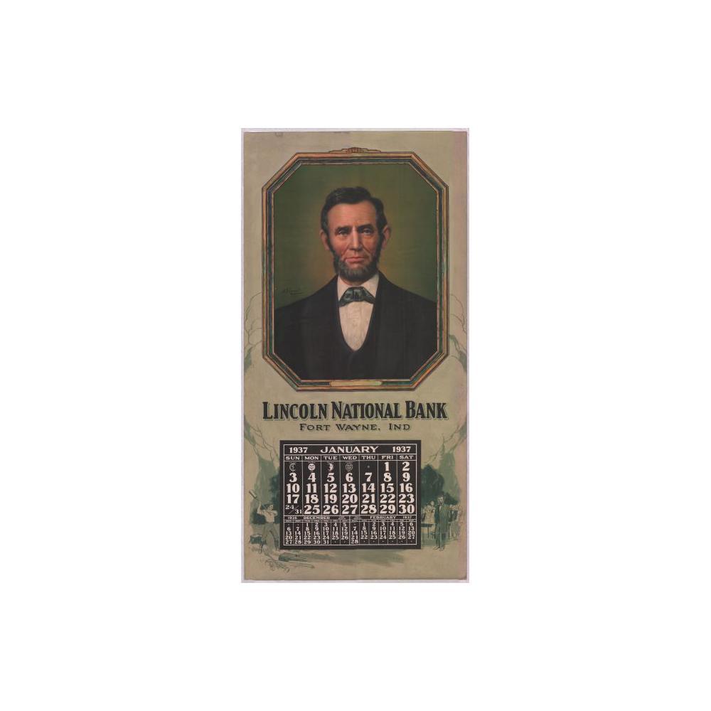 Image: 1937 Wall Calendar for Lincoln National Bank