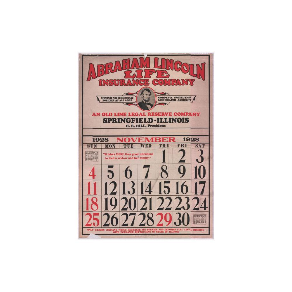 Image: 1928 November Abraham Lincoln Life Insurance Company wall calendar