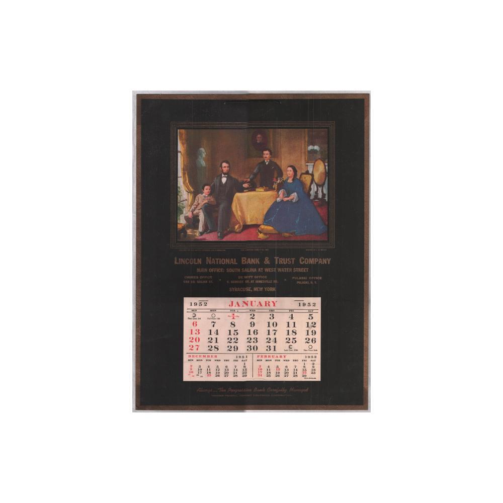 Image: 1952 Lincoln National Bank & Trust Company wall calendar
