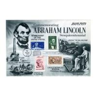 Image: Commemorative envelope with four Lincoln stamps
