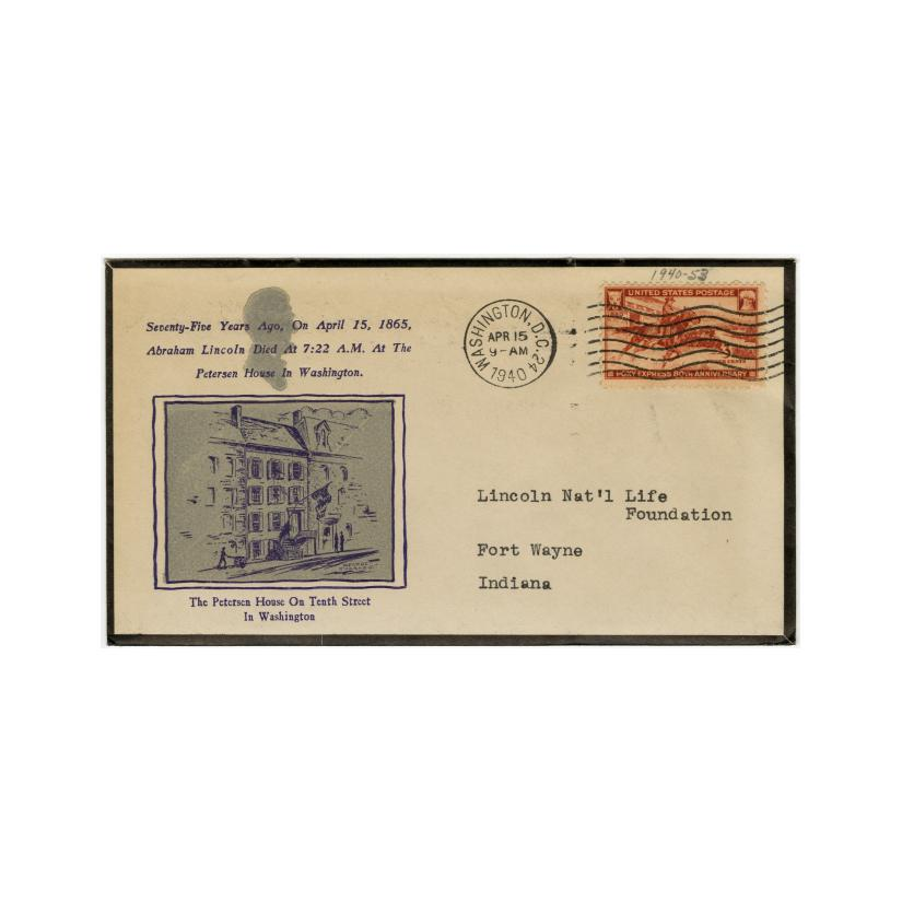 Image: Commemorative cachet for time and place of Lincoln's death