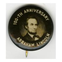 Image: 22 mm Lincoln 100-th Anniversary celluloid pinback button