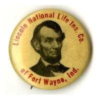 Image: 23 mm Lincoln National Life Insurance Co. celluloid pinback button