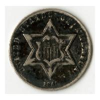 Image: 1861 Star Three-Cent Coin
