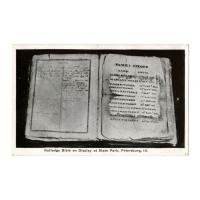 Image: Rutledge Bible on Display at State Park, Petersburg, Ill.