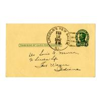 Image: 1-cent Postal Card Postmarked Feb. 12, 1942