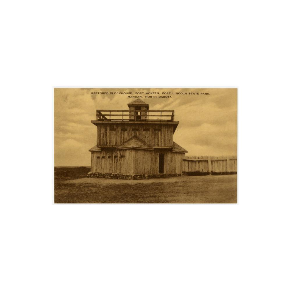 Image: Restored Blockhouse, Fort McKeen, Fort Lincoln State Park