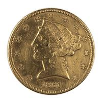Image: 1861 Liberty Head Five-Dollar Coin