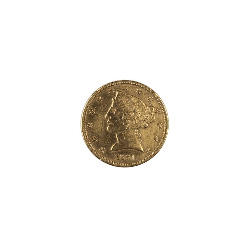Image: 1861 Liberty Head Five-Dollar Coin