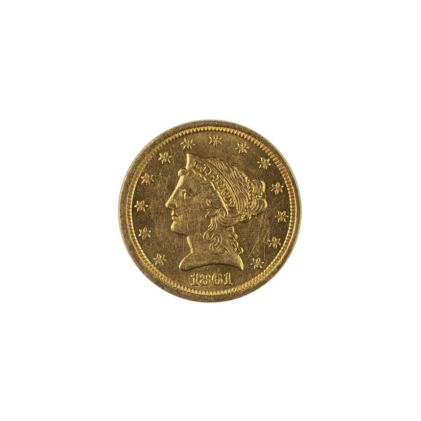 Image: 1861 Liberty Head Two and a Half Dollar Coin