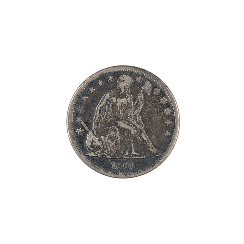 Image: 1861 Seated Liberty One Dollar Coin