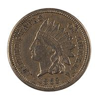 Image: 1863 Indian Princess One-cent coin