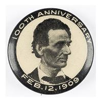 Image: 22 mm Lincoln 100th Anniversary celluloid pinback button